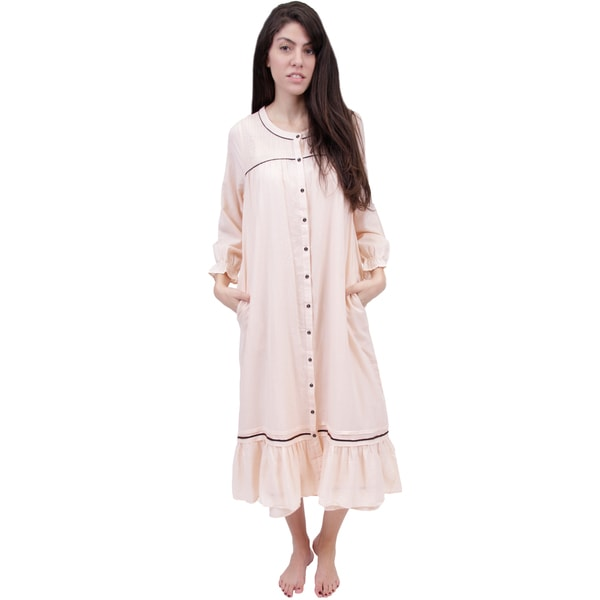 Shop La Cera Women's Long Sleeve Front Button Up Robe ...