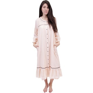La Cera Women's Long Sleeve Front Button Up Robe