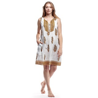La Cera Women's Sleeveless Printed Cotton Chemise