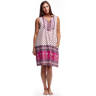 La Cera Women's Sleeveless Pink Printed Cotton Chemise