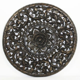Handmade Haussmann Sand Washed Natural Wax 3D Inlay Round Lotus Panel (Thailand)