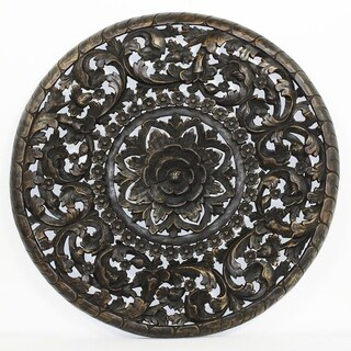 Haussmann Sand Washed Natural Wax 3D Inlay Round Lotus Panel (Thailand)