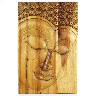 Haussmann Serene Buddha Antique Oak Oil Panel (Thailand)