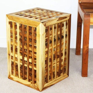 Teak Block Lattice Work Teak Oil Finished 18-inch Table (Thailand)