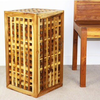 Teak Block Lattice Work Teak Oil Finished 23-inch Table (Thailand)