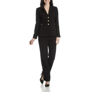 Tahari Arthur S. Levine Women's Solid 2 Piece Pant Suit