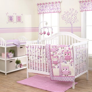 Belle Dancing Owl 3-piece Girl Crib Bedding Set