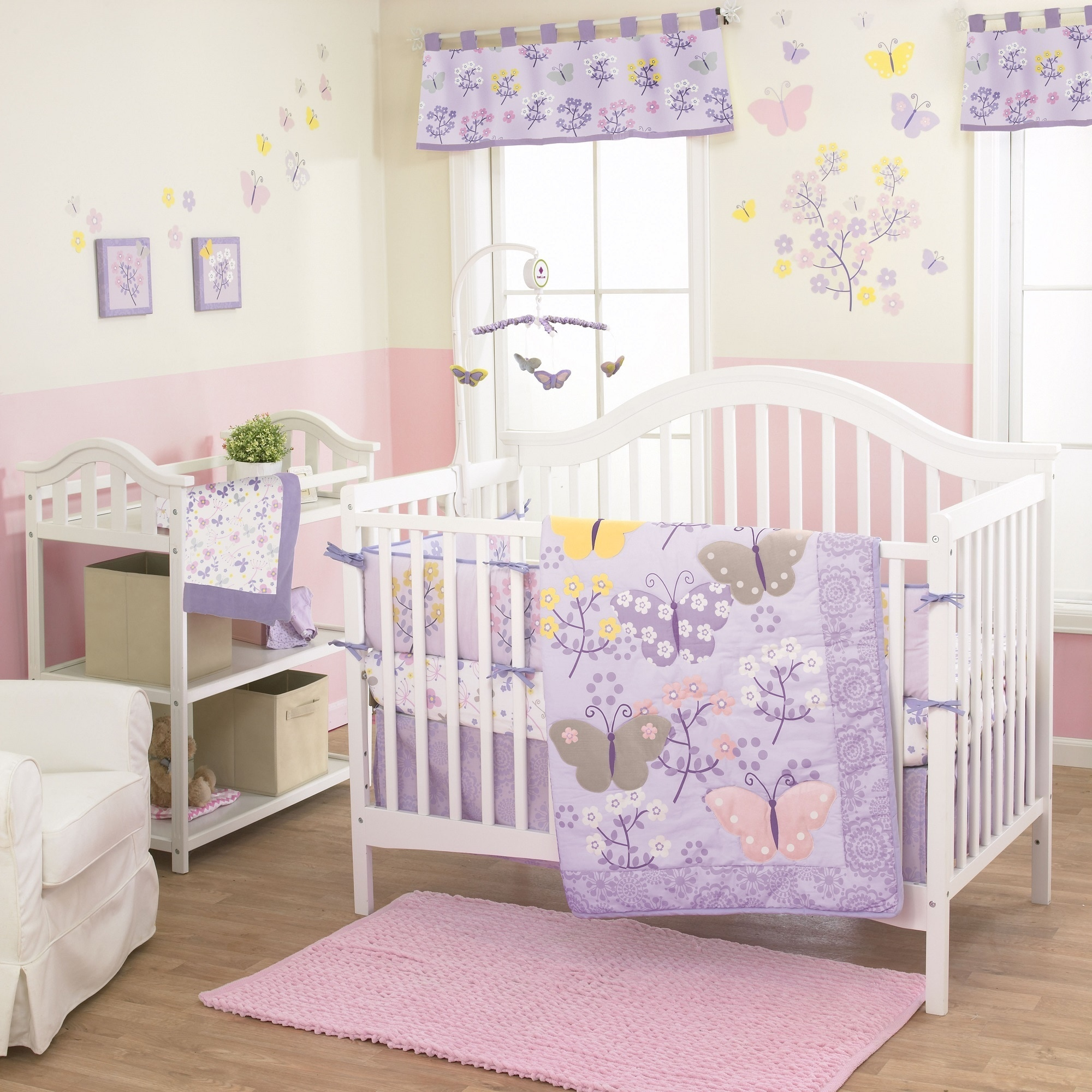 Belle Lulu 3-piece Girl Crib Bedding Set (Lulu), Purple (...