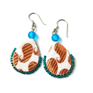 Handmade Recycled Silk Sari Assorted Teardrop Earrings (India)
