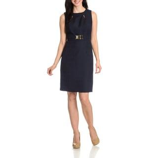 Tahari Arthur S. Levine Women's Tonal Pattern Cut-Out Detail Dress
