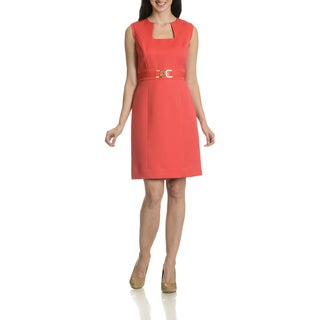 Tahari Arthur S. Levine Women's Textured Faux Belted Dress
