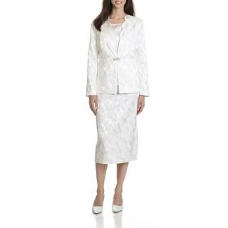 Danillo Women's Tonal Floral Pattern Jacquard 3-piece Skirt Suit
