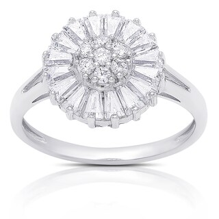 Dolce Giavonna Sterling Silver Cubic Zirconia Flower Design Ring