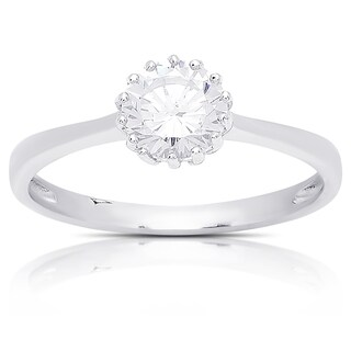 Dolce Giavonna Sterling Silver Cubic Zirconia Engagement Ring