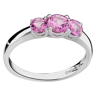 Sterling Silver Round Created Pink Sapphire 3-stone Ring (China)
