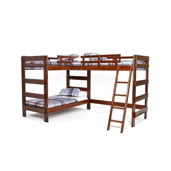 woodcrest heartland collection l-shaped twin or futon bunk bed