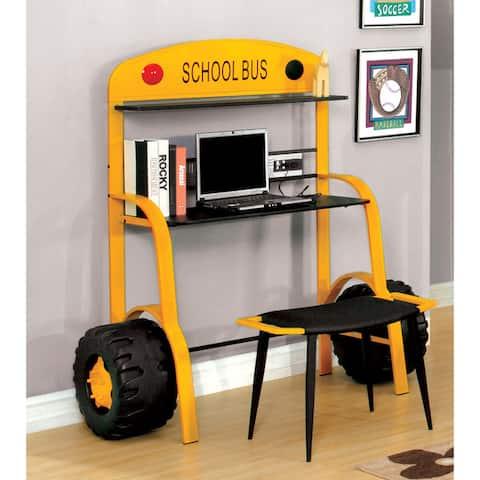 Furniture of America Netz Modern Yellow 2-piece Workstation Desk Set