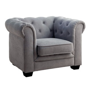 Furniture of America Terry Tufted Flannelette Upholstered Club Chair
