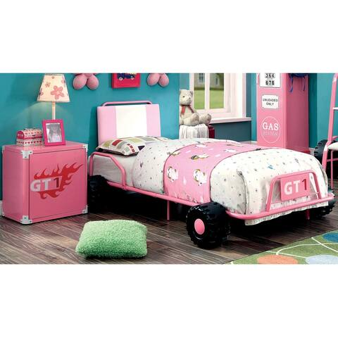 Furniture of America Feln Modern Metal Racing Bed and Nightstand Set