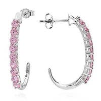 Sterling Silver Round Pink Cubic Zirconia J-hoop Earrings (China)