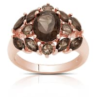 Dolce Giavonna Gold Over Silver Smokey Quartz Cocktail Ring
