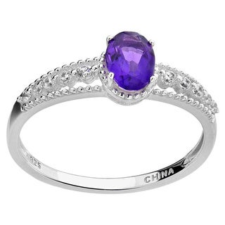 Sterling Silver 7x5mm Oval Amethyst and Cubic Zirconia Ring (China)