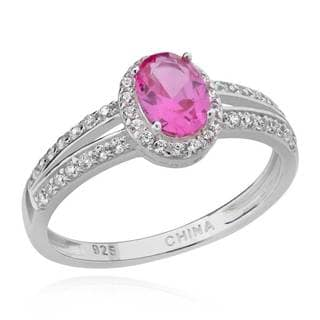 Sterling Silver 7x5mm Oval Created Pink Sapphire and Cubic Zirconia Ring (China)
