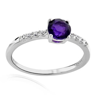 Sterling Silver 6mm Round Amethyst and Cubic Zirconia Ring (China)