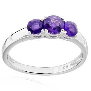 Sterling Silver Round Amethyst 3-stone Ring (China)