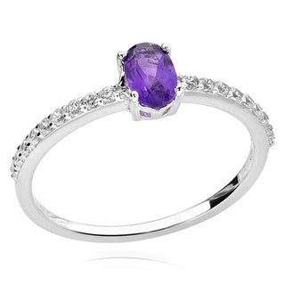 Sterling Silver 6x4mm Oval Amethyst and Cubic Zirconia Ring (China)