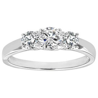 Sterling Silver Round Cubic Zirconia 3-stone Ring (China)