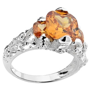 Sterling Silver Square Cushion-cut Champagne Cubic Zirconia 3-stone Ring (China)