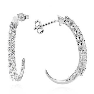 Sterling Silver Round White Cubic Zirconia J-hoop Earrings (China)