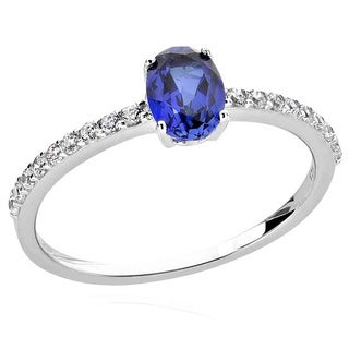 Sterling Silver 7x5mm Oval Created Blue Sapphire and Cubic Zirconia Ring (China)