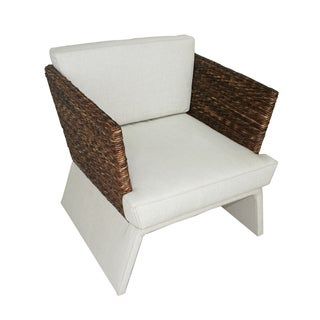 Breezy Beige Natural Wood and Fabric Living Room Chair