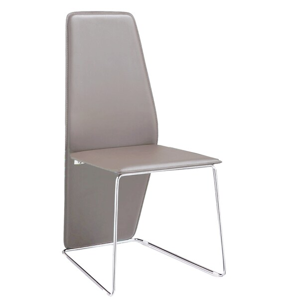 Shop Logan Grey Leather And Chrome Dining Chair Set Of 2 Free