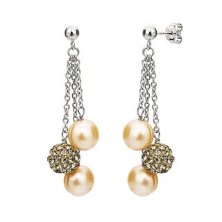 DaVonna Sterling Silver 8-9 mm Freshwater Pearl and Cubic Zirconia Dangle Earrings (Option: Gold)
