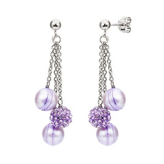 DaVonna Sterling Silver 8-9 mmFreshwater Pearl and Cubic Zirconia Dangle Earrings