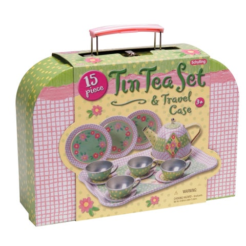 Schylling Childrens Tin Tea Set In Case - Multicolor
