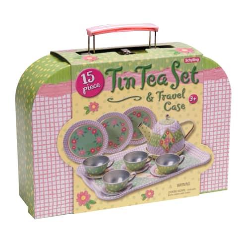 Schylling Childrens Tin Tea Set In Case - Multicolor