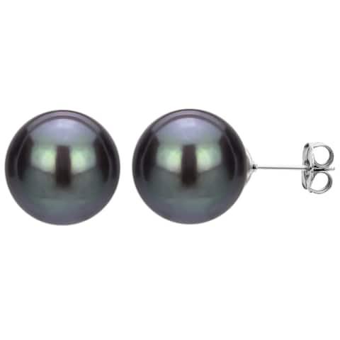 Sterling Silver Black Freshwater Pearl Stud Earrings (5-13 mm)