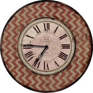 Shabby Chic Red Chevron Wall Clock