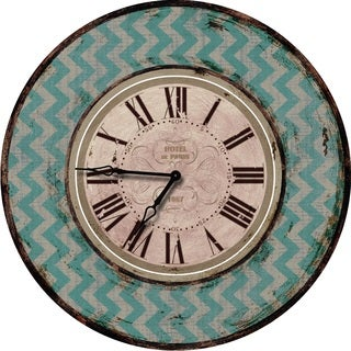 Shabby Chic Teal Chevron Wall Clock