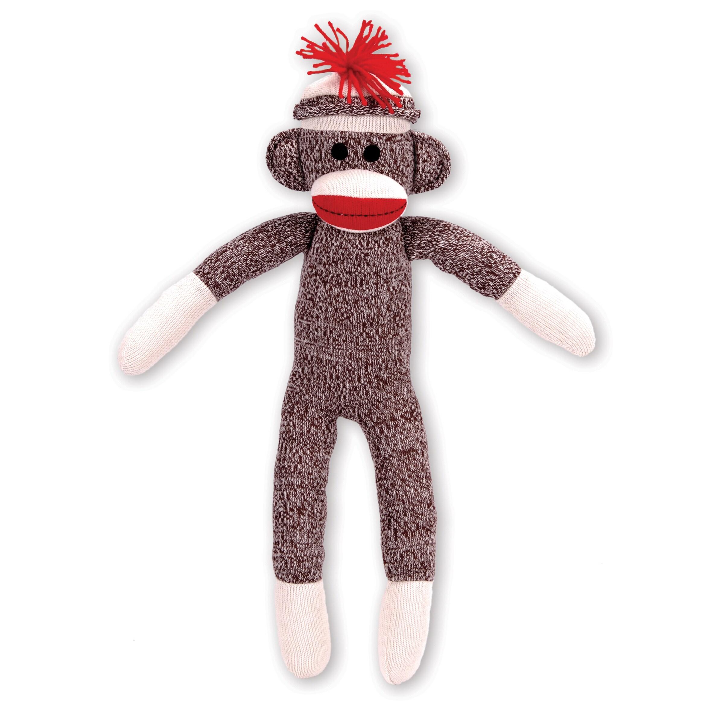 Schylling Sock Monkey Stuffed Animal (G019649223145), Red