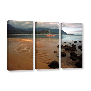 ArtWall Kathy Yates's Hanalei Bay at Dawn 3-piece Gallery Wrapped Canvas Set