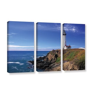 ArtWall Kathy Yates's Pigeon Point Lighthouse 3-piece Gallery Wrapped Canvas Set