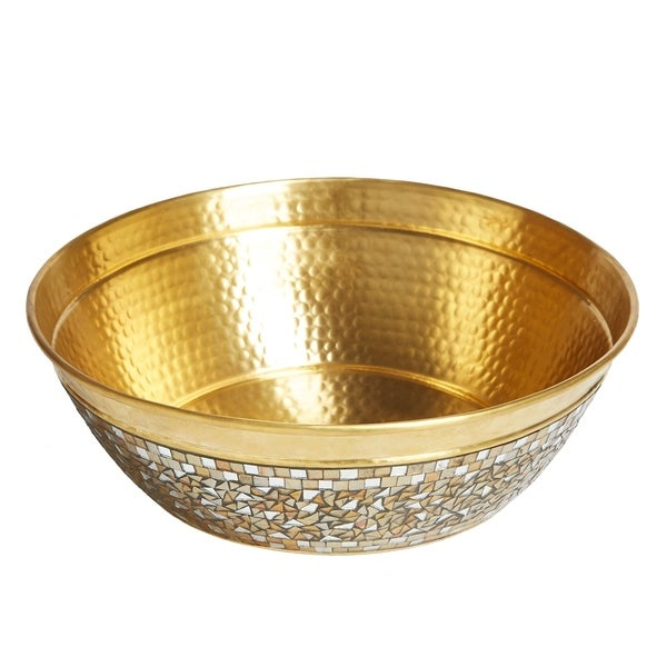 "Sinkology Shockley 16"" Solid Brass Vessel Sink with Hand Applied Champgane Glass Mosiac Exterior"