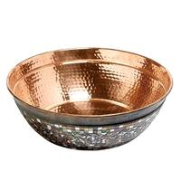 "Sinkology Bardeen 16"" Copper Vessel Sink with Glass Mosaic Exterior"