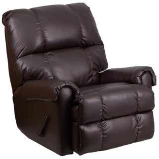 Contemporary Ty Chocolate LeatherSoft Rocker Recliner