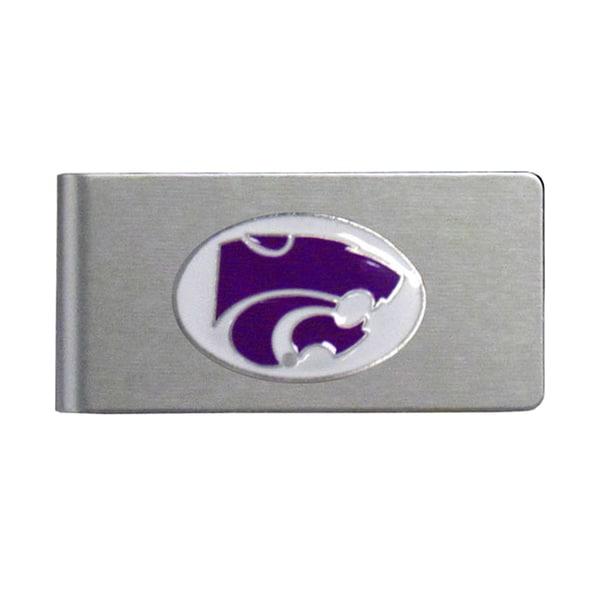 Kansas State Wildcats Sports Team Logo Brushed Metal Money Clip